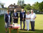 Winners Mixed Pairs Tournament 2016. Michael Fisher & Enid Endersby Borstal Bowls Club.With Gill Bunch (Organiser) Ken Pantry (President) and Peter Hulme (Chairman) of Cranbrook Bowls Club