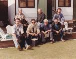 Work Party 1990. Back Row Charlie Croucher, Jim Pratt, Ray Foreman. Front Row Tony Platts with Suki, Ted Tapp, Peter Gower, Brian Honess